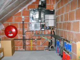 Газовый котел Q25C на чердаке